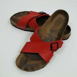 Birkenstock Birkis red stripes sandals size L10 M8